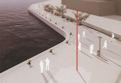 Simulation of The Red Vertical installment on the walkway towards the West Riva