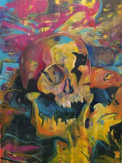 A skull in the backyard of a house, 200 x 150 cm, oil on canvas, 2017